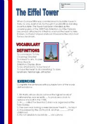 The Eiffel Tower  ( vocabulary+exercise+key included)