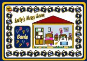 English Worksheet: SALLY�S MESSY ROOM - PLACE PREPOSITIONS BOARD GAME (PART1)