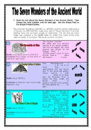 English Worksheet: The Seven Wonders of the Ancient World - 4 pages + Key