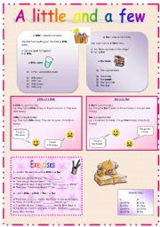 English Worksheet: a little and a few