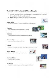English Worksheet: The 15 sports in the 2010 Winter Olympics