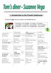 English Worksheet: Present Continuous Song Tom´s Diner