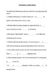English Worksheet: Reality shows-vocabulary