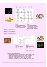 Crossword Puzzles ordinal numbers and days of the week