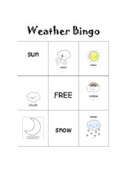 English Worksheet: Weather Bingo set 1