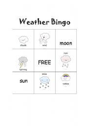 English Worksheet: Weather Bingo Set 2