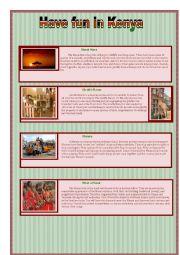 English Worksheet: Kenya Activities