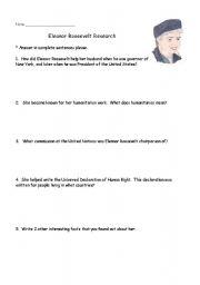 English Worksheets: Eleanor Roosevelt