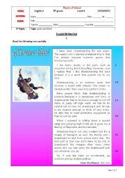 English Worksheet: Test - 8th grade (level IV) - Sports