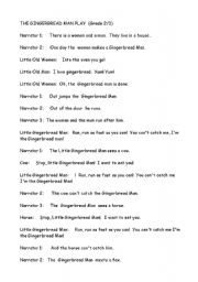 English Worksheet: The Gingerbread Man Playscript