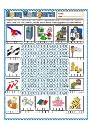 English Worksheet: Money Wordsearch (part 2)