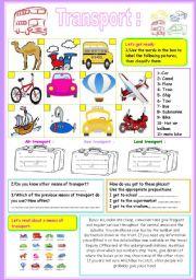 English Worksheets: TRANSPORT