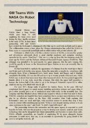 English Worksheet: GM teams with NASA on robot technology (version 2 of