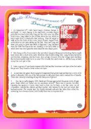English Worksheets: the Disappearance of David Lang