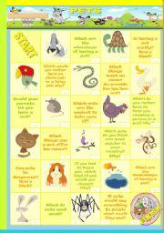 English Worksheets: pets boardgame (speaking)
