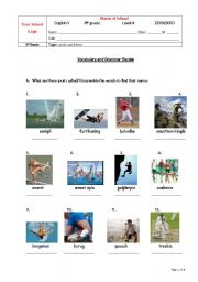 English Worksheet: Review for test -