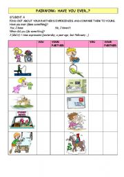 English Worksheets: Pairwork: �Have you ever...?�