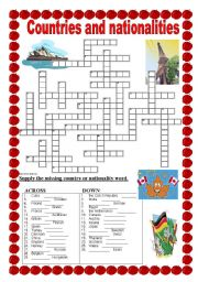 ESL worksheets for beginners: Countries and nationalities - crossword