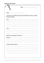 English Worksheets: Letter to new teacher