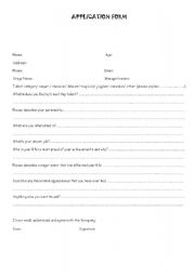 English Worksheet: Application form for a TV game show