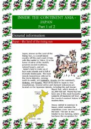 English Worksheet: Inside the continent Asia - Japan (Part 1 of 2) (8 pages)