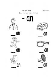Worksheets An Word Family Worksheets english worksheet an word family