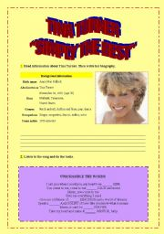 English Worksheets: �SIMPLY THE BEST� TINA TURNER