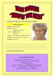 English Worksheet: ´SIMPLY THE BEST´ TINA TURNER
