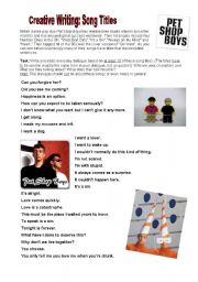 English Worksheets: Creative Writing: Pet Shop Boys Song Titles