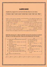 English Worksheets: language and writing