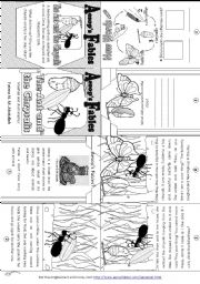 English Worksheet: Aesop´s Fables: The Ant and the Chrysalis [ Mini-book ]