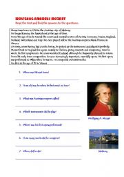 English worksheet: Wolfgang Amadeus Mozart