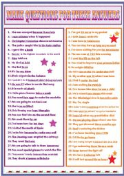 English Worksheets: MAKE QUESTIONS FOR THESE ANSWERS