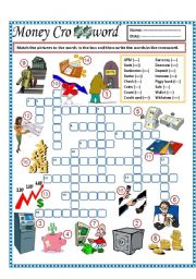 English Worksheets: Money Crossword (part 3)