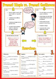 Present Simple vs. Present Continous - grammar guide + 2 pages exercises+ key - III