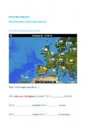 English Worksheet: weather forecast in europe