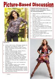 English Worksheet: Picture-Based Discussion (15): Fashion
