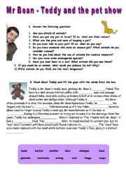 English Worksheets: Mr Bean, Teddy and the pet show - VIDEO SESSION (5:33)