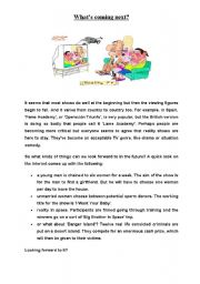 English Worksheet: Reality shows-reading