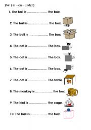 preposition in on under