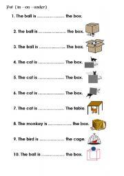 English Worksheet: preposition in on under