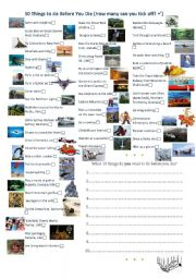 English Worksheets: 50 Things To Do Before You Die