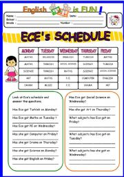 English Worksheet: Ece�s Schedule