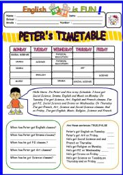 English Worksheet: Peter´s Timetable