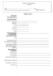 English Worksheet:  The Professional World - CV ; Application Letter ; interview