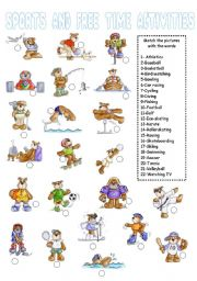 Sports and Free Time Activities Matching Exercise(2 of 2)