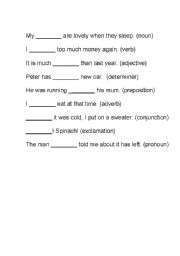 English Worksheets: Parts of the sentence