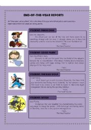 English Worksheet: end-of-the-year reports (Writing activity)