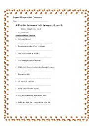 English Worksheets: reported requests and commands