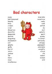 English Worksheet: Bad characteristics for story writing